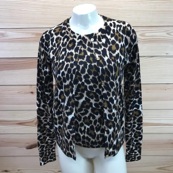 11a16da4f698 J. Crew Sweaters | J Crew Jackie Cardigan Sweater Twin Set Leopard ...